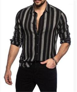 Bas Casual Col T-shirts à manches longues de couleur contrastée Hommes Simple boutonnage Hauts Hommes Designer rayé Chemises Imprimer Turn