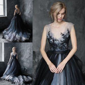 Impressionante A-Line Scoop Abiti da sposa nero gotico 2020 Appliques del merletto di Tulle Gypsy vestito nuziale Robes de mariée Plus Size Abiti da sposa