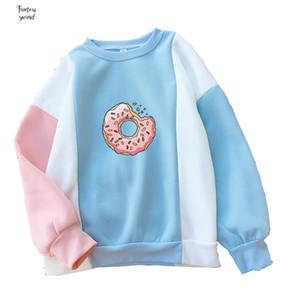 Frauen Sweatshirt Harajuku Kawaii Donuts Druck Netter Hoodies Patchwork Kleidung Pastell Kontrast Farbe O-Ansatz-Winter Leopard Herbst Top