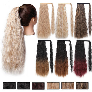 Longue perruque ondulée Ponytail synthétique postiche Wrap sur pince à cheveux Extensions Ombre Brown Poney queue Blond Fack cheveux 22 pouces