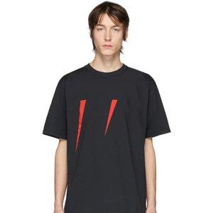 20SS Italie Mode Hommes manches courtes Casual Jersey T-shirt ras du cou tricot côtelé col Logo imprimé en rouge et blanc d'été du Nouveau 201451M213071