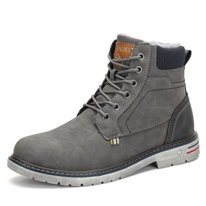 Moda Zapatos de invierno Hombres Botas militares Botas de nieve al aire libre Botas de nieve Botas planas antideslizantes Zapatos de seguridad Zapatos de Hombre