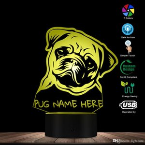 Özel ad Pug Portre LED gece ışık Pug köpek 3D LED Illusion Çocuk Odası Masa Lambası renk değişiklikleri ile köpek severler Anıt hediye