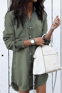 Casual Hi-Lo veste estate delle donne shirt jeans sexy dei vestiti della nappa del collare del basamento del vestito Primavera Estate