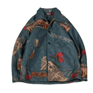 Erkek ceketler Moda Günlük Moda Ceketler Retro Baskılı Yaka Yün Sıcak Pamuk Ceket Kısa Ceket Dış Giyim Lose