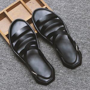 BONJEAN Erkek Sandalet Deri Erkek Yaz Ayakkabı 2020 Düz Plaj Sandalet Erkek Siyah Beyaz Ayakkabı
