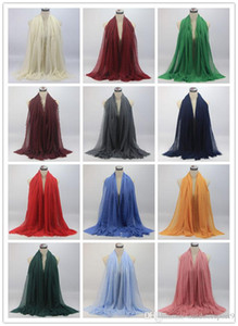 2019 Autumn women's outing neck, solid color cotton scarf, hair bag, headscarf, multi-style, wrinkle, scarf, wholesale