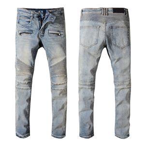 Designer Mens Denim Jeans Distressed Ripped Designer Biker Jeans Slim Fit Motorcycle Biker Luxury Denim Jeans Autumn Fashion Pants