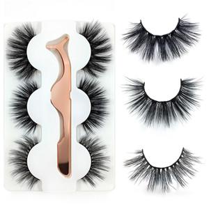 3 Pairs 6D Mink Hair False Eyelashes With Stainless Steel Tweezer Crisscross Natural Makeup Eyelash Mixed Style Fluffy Eyelashes