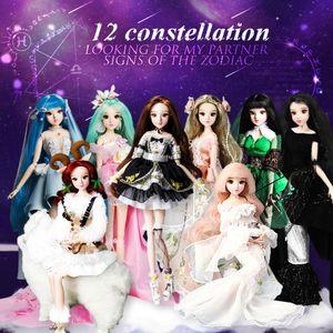 Mm Girl 12 Constellations Dolls Bjd Doll con ropa Zapatos Stand 14 Joint Body It adecuado para regalo de juguete MX190731