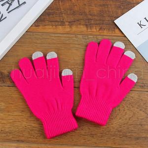 Мягкий сенсорный экран перчатки мода женщина теплый сплошной цвет хлопчатобумажные перчатки открытый причинно-следственные мужчины зима рождественские подарки TTA1773