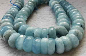 Wholesale 12mm to 2mm Genuine aquamarine beryl Blue gemstone - faceted cut rondelle wheel round beads - strand 16 inch