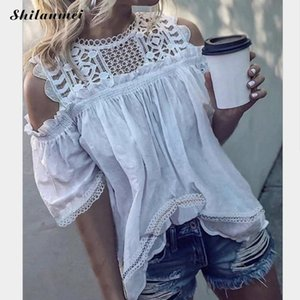 Summer Design Women Fashion Plus Size White Blouses Hollow Lace Slim Fit Tops Clothing Female Shirts Ladies Blusas 2019