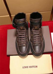 Botas Zapatillas de deporte para hombre Zapatos altos para hombre de diseño Zapatillas de deporte para hombre Plataforma de cuero Zapatos planos casuales Zapatillas deportivas Sin caja