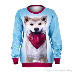 여자의 스웨터 O 목 긴 소매 개, 사랑 인쇄 여성 후드 패션 여성 의류 3D 인쇄 Deisigner