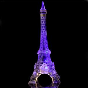 SXI Tour Eiffel Décor Lumière Coloré LED Veilleuse Paris Style Lampe De Bureau pour Chambre Cadeau D'anniversaire Romantique pour Enfants Fête De Gâteau Topper