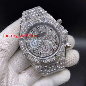 Voll Diamanten glänzend Quarzuhr 41mm bling vereist Silber Stahlgehäuse Diamantzifferblatt VK Chronograph voll vereist Uhren Arabisch Zifferblatt