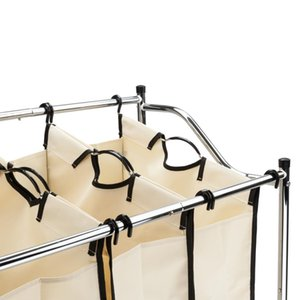 Laundry Sorter 3 4-Bag Heavy-Duty Rolling Divided Laundry Hamper Cart with Removable Bags and Brake Casters Chrome