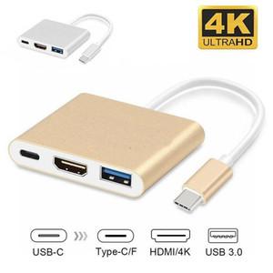 3 en 1 USB 3.0 Tipo C a HDMI adaptador convertidor 4K macho a hembra USB-C Hub Adaptador de tipo C para el MacBook Air de TV