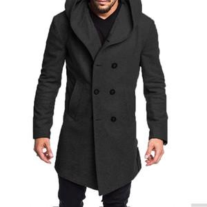 Mens cappotti e giacche invernali 2019 nuovi uomini del cappotto casuale incappucciato di lana a maniche lunghe monopetto Mens Cappotti