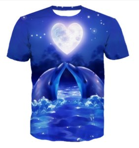 Newest Novelty Streetwear Men Woman Dolphin Summer Style Funny 3D Print Casual O-neck T-Shirt Tops Plus Size WW0176