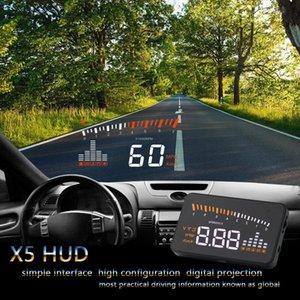 X5 자동차 HUD 헤드 업 디스플레이 차량 OBD2 자동차 속도계 앞 유리 프로젝터 운전 속도 알람 전압 MPH KM / H 표시