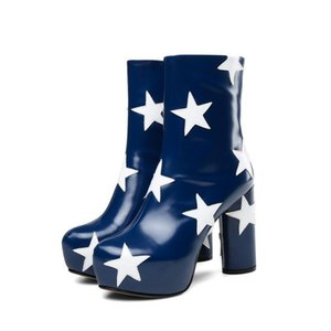 Luxury Printing Star Blue Black Leather Ankle Boots For Women Round Toe High Square Heels Botas Mujer Platform Brand Shoes Woman