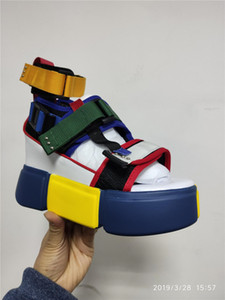 Swyivy Mavi Sandalet Platformu Kadın 2020 Bayanlar Günlük Ayakkabılar Kama Yüksek Chunky Topuk Sandalet Yaz Ayakkabı Yüksek Top Ayak bileği Ayakkabı 41 GMX190705