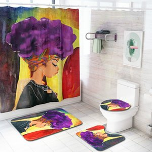 Cilected African Woman Shower Curtain Bath Mat Toilet Pad Set Character Printing Anti-Slip Carpet Flannel Bath Rugs