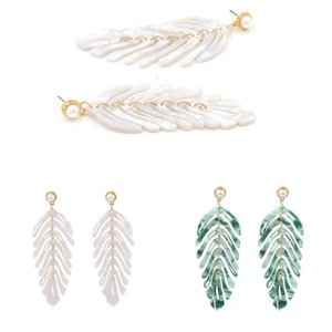 Free DHL 2 Colors Women Fashion Earrings Simple Acetate Ear Stud Acrylic Leaves Earrings with Pearl Female Jewelry Gifts