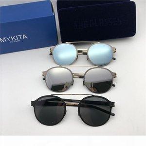 new mykita sunglasses ultralight frame without screws MKT CROSBY round frame flap top men designer sunglasses coating mirror lens