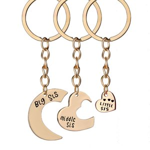 Hot Sale Big Middle Little Sis Heart Shape Pendant Alloy Keychain Silver Golden 2 Colors Key Ring for Friends Wholesale Fashion Accessories