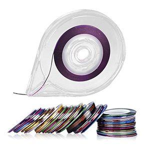 5 UNIDS Diseñado Fácil Uso Nail Art Salon Striping Tape Line Nail Stickers Roller Dispenser Nail Herramienta de Etiqueta con el Titular