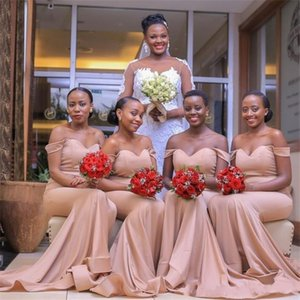 African Sexy Mermaid Bridesmaid Dresses Off The Shoulder Wedding Guest Dress Backless Sweep Train Maid Of Honor Party Gowns