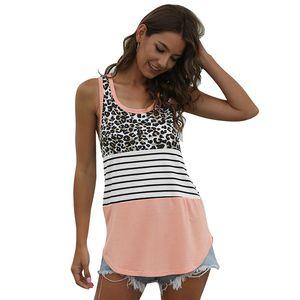 Verano tanque tapas atractivas Beach Casual Streetwear algodón mujeres de la camiseta de rayas leopardo remiendo camisetas más señoras del tamaño de tes superior