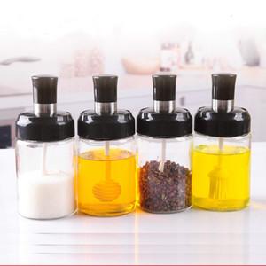 250ML Kitchen Creative Stainless Steel Storage Box Supplies Glass Seasoning Bottle Salt Storage Box Spice Jar With Spoon