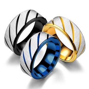 Titane Stripe Twill simple anneau d'or bande BLEUE Black Ring Finger Rings Bague Menottes Femmes Hommes Lovers Bijoux Fashion Drop Ship 080196