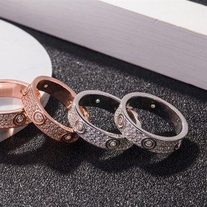 Знаменитость горячий стиль пара кольцо широкая версия узкая версия полный Циркон мужчины и женщины тот же золотой цвет и серебряный цвет кольцо ювелирные изделия ZK40