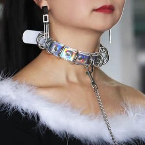 Gerdanlık kolye Kadınlar PU El yapımı Lazer Gökkuşağı BDSM gerdanlık Perçinler Metal Lazer Yaka Chocker Moda Takı