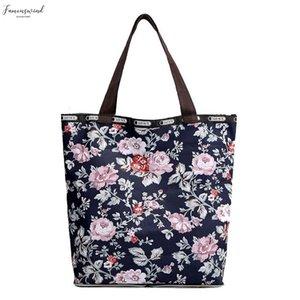 Folding Shopping Bag Eco Friendly Ladies Nylon Cloth Folding Bag Womens Handbag Printed Cloth Bag Travel Shoulder Folding