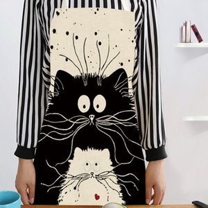 Cooking Kitchen Apron Cute Cat Printed Sleeveless Cotton Linen Apron For Woman Children