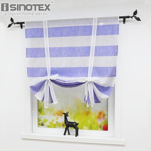 Navy Blue Stripes Design Roman Curtains Fashion Pleated Curtain Panel Drape for Bedroom Kitchen Living Room Window Curtains