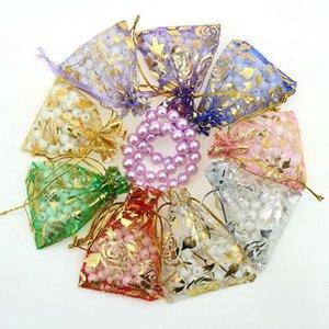 50 Unids / lote 7X9cm 9X12cm 11X16cm 13X18cm Oro Amor corazón rosa Bolsa de organza Boda velo regalo Boda Bolsas de joyería Embalaje