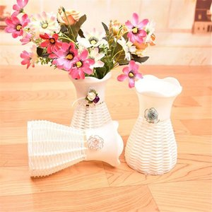 Decoración agradable Rattan cesta Jarrón Flores Metros orquídea flor artificial Conjunto de plástico decoración del hogar artículos de equipamiento de nuevas