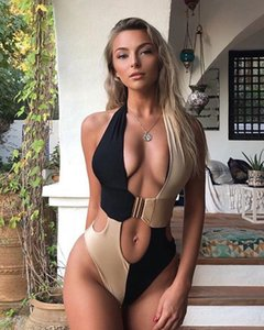 2020 nuevo Leopard comercio exterior bikini modelos de explosión de costura del bikini de una sola pieza traje de baño bikini hebilla integrada 19151