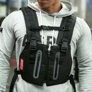 Riflettente maglia tattica esterna degli uomini di protezione del torace Borse Esercizio Rig Bag Hip Hop Streetwear Training Uomo Abbigliamento zaino marsupio UK-3