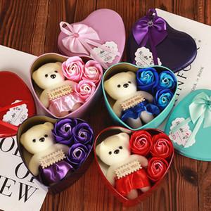 День матери в форме сердца мыло Цветок Подарочная коробка Ароматические ванны для тела Лепестки цветов Мыло Сердце Декор Свадьба Искусственный цветок розы BH1275 такой анкеты