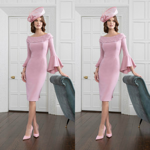 Hot Pink Poet Sleeve Mother Of the Bride Dresse Scoop Neck Beaded Party Gown Arabic Women Evening Wear Cheap 2019 Wedding Guest Dress