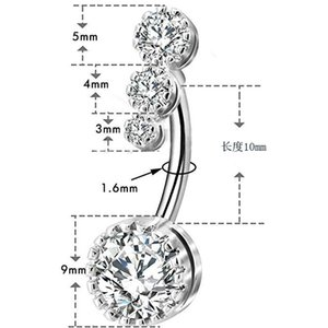 D0931-1 Sexy Dangling Navel Belly Butt Button Bottone Belly Piercing Crystal Chirurgical Steel Femme Bijoux Barbell Femmes Accessoires