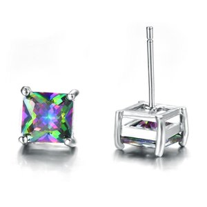 6 Pairs Ear Russia Thanksgiving Topaz Square Mystic Gift Luckyshine Gems 925 Zirconia Silver Wedding Cubic Earrings Canada Stud Stud 1L Aaod